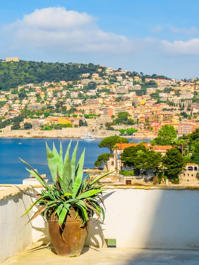 Seaside of the Mediterranean Sea. Landscape of the Cote d`Azur, Villefranche-sur-Mer, France stock photography