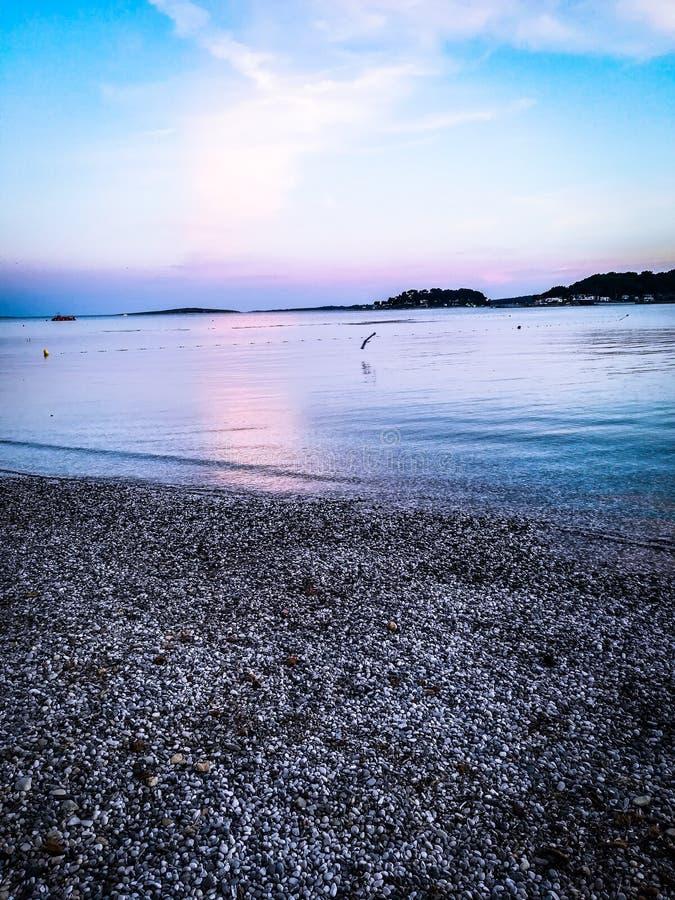 Seaside Medulin, Croatia. Beach, morje, water, sunset, beautiful, photography royalty free stock photos