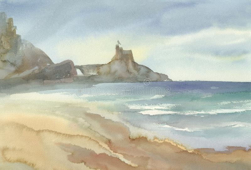 Seaside with mountains watercolor landscape. Summer illustration royalty free illustration