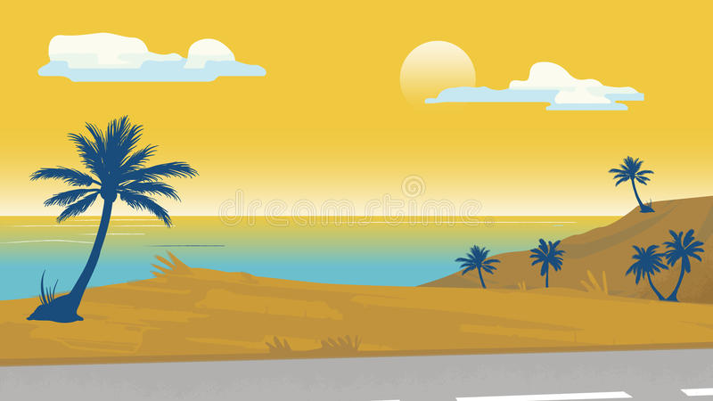 Download Seaside Palm Trees Vector Illustration Background Template For Advertise Travel Agency Banner