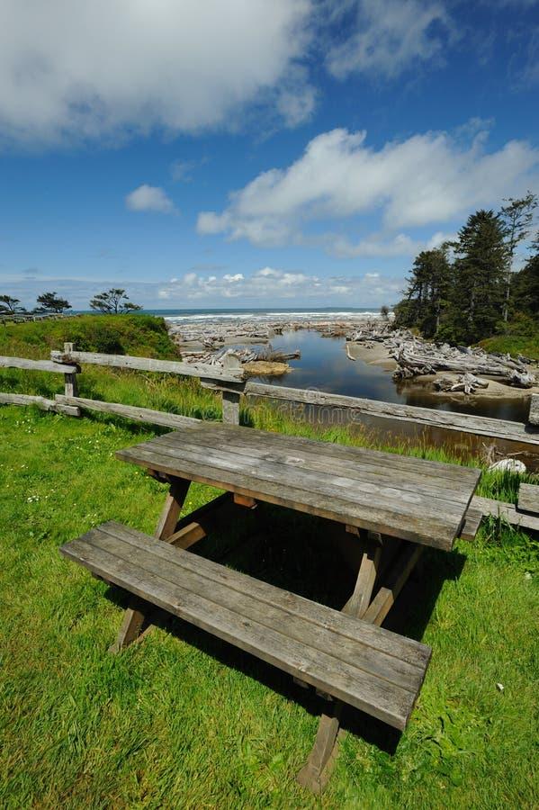 Seaside picnic site royalty free stock photo
