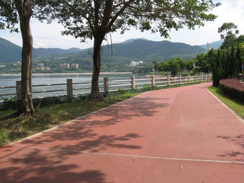 The promenade at Tai Po Waterfront park, Hong Kong stock images