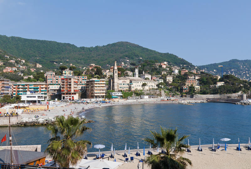 Download Seaside in Recco, Italy stock photo. Image of beach, boat - 19610562