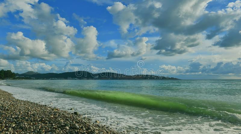 Seaside resort Bar city in summer,Montenegro. Adriatic landscape with surf and transparent wave royalty free stock photos