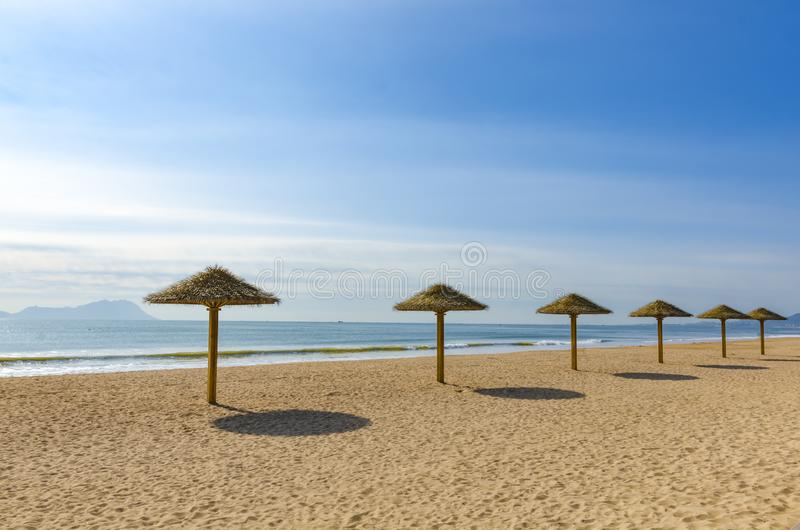 Seaside resort beach. Beach on holiday Entertainment and leisure pavilion Sunny weather royalty free stock images