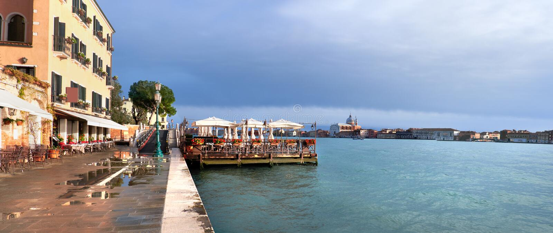 Seaside restaurant on Fondamenta Zattere in Southern Venice, Italy royalty free stock photography