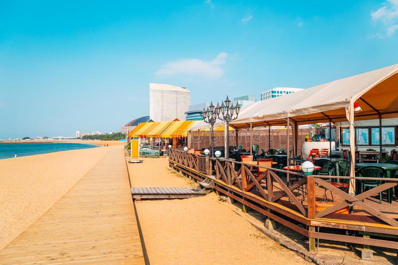 Seaside restaurant and Momochi beach in Fukuoka, Japan. Seaside restaurant, Momochi beach in Fukuoka, Japan royalty free stock photo