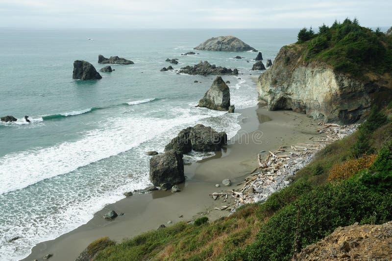 Seaside rock scene stock photography