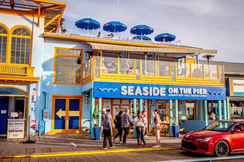 Seaside Rooftop Lounge at Santa Monica Pier - LOS ANGELES, USA - MARCH 29, 2019 stock photo