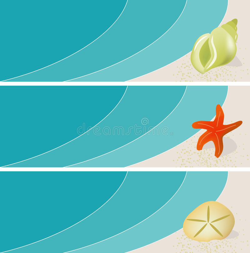 Free Seaside Seashell Banners Stock Photography - 5690792