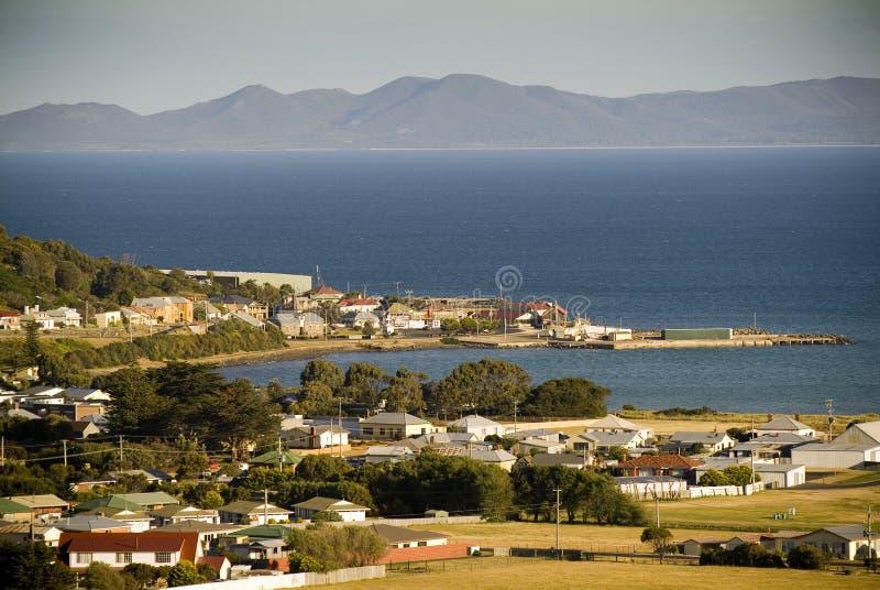 Seaside Town. A sundown view of Stanley, Tasmania, Australia and its seaside setting royalty free stock image