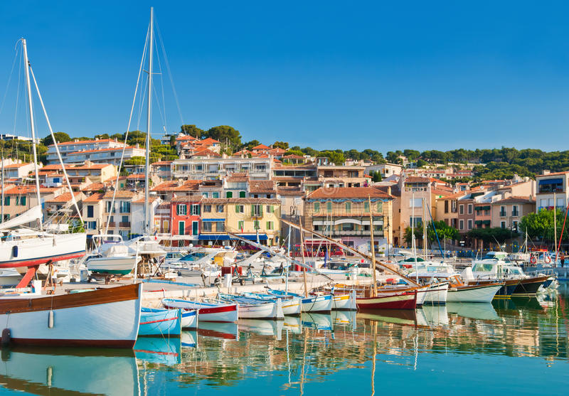 The seaside town of Cassis in the French Riviera. The beautiful town of Cassis in the French Riviera photographed during a clear morning royalty free stock photography