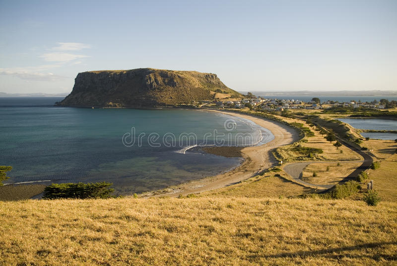Seaside Town and Mountain. A sundown view of Stanley, with The Nut behind stock photo