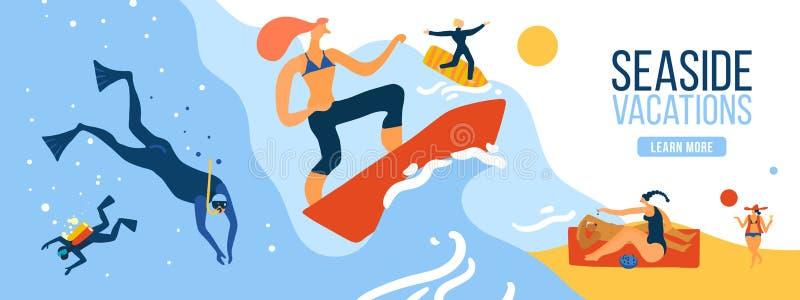 Seaside Vacations Illustration stock illustration