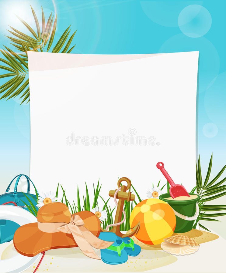 Download Seaside View With Blank Paper Frame Stock Vector