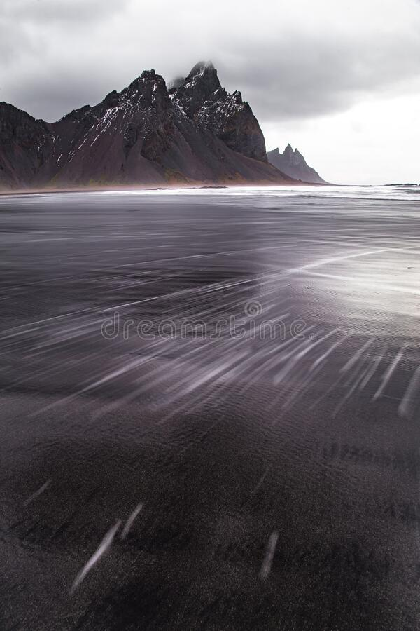 Seaside view of famous Vestrahorn Mountain Iceland Europe stock images