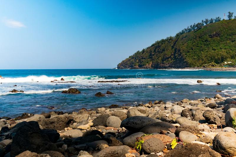 Seaside view from the Manapany stone beach on Reunion island royalty free stock photography