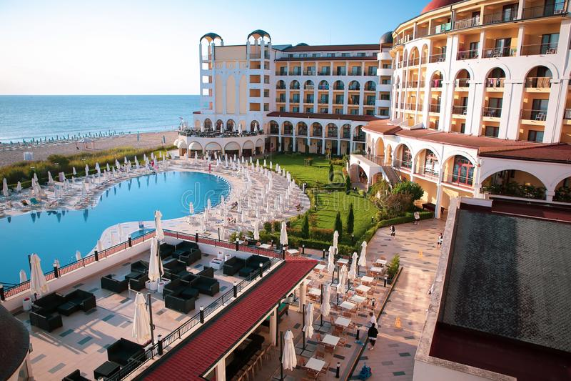 Seaside view, pool and terraces of Riu Helios Hotel in Obzor beach resort, Bulgaria, on a sunny summer morning stock images