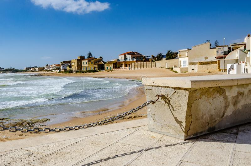 The seaside village. Sicily: characteristic seaside village with villas by the sea stock images