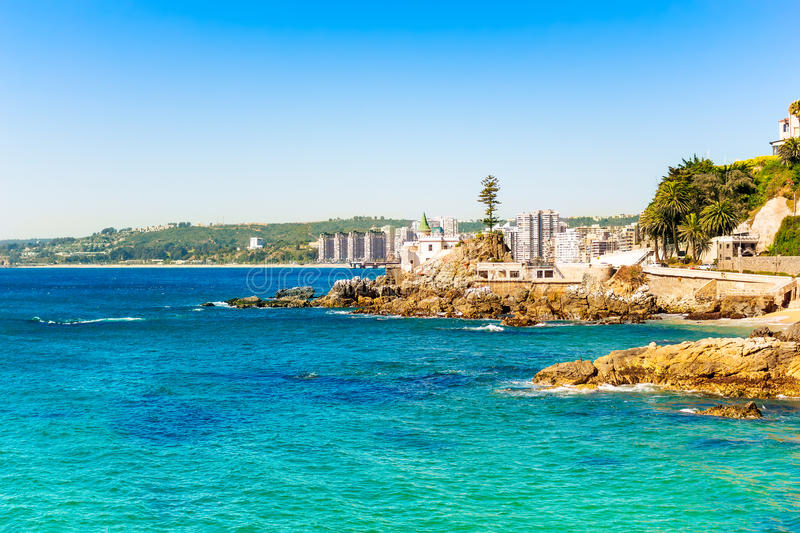 Seaside in vina del mar chile stock image image of town for Jardines verticales vina del mar