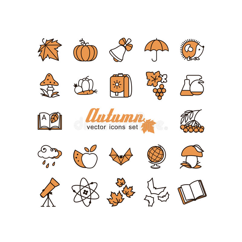 Season - autumn. Set of pictures. A vector royalty free illustration