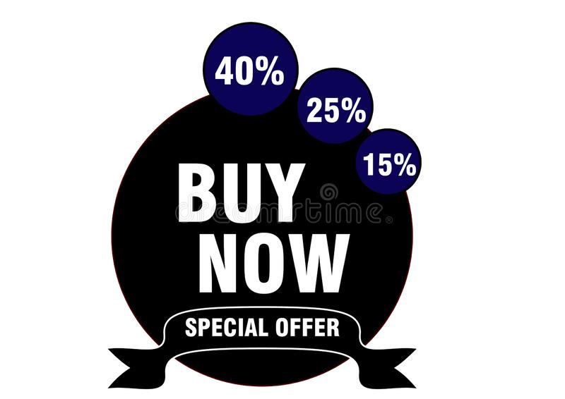 Season buy now special offer  15% to 40% button web icon stock illustration