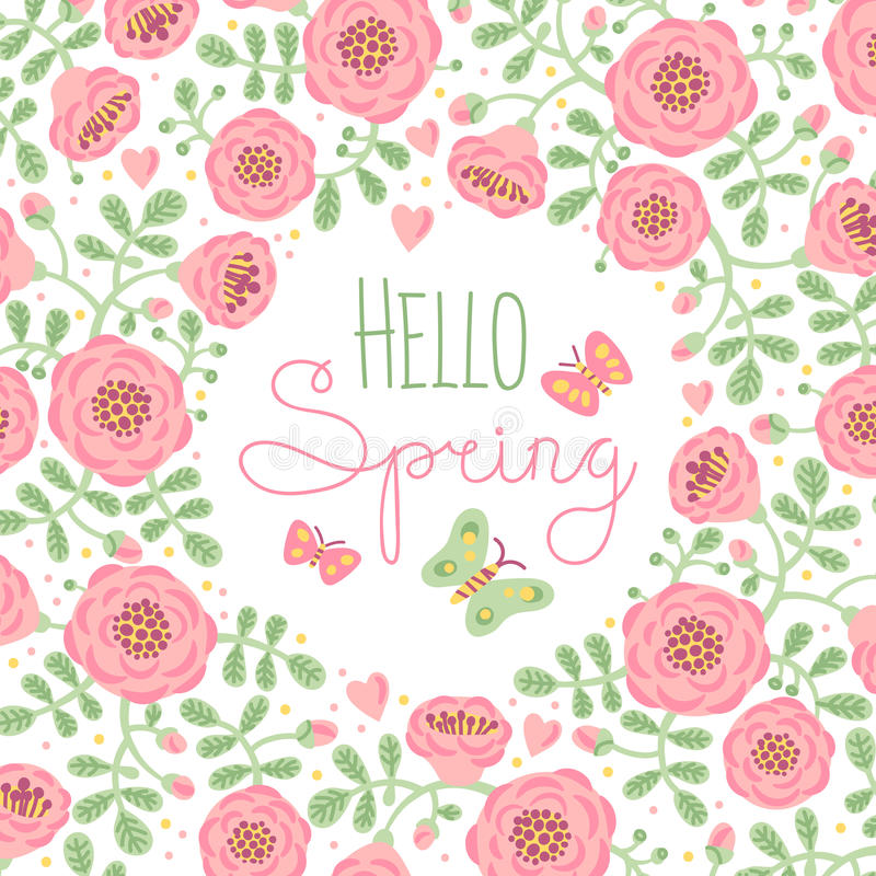 Attirant Download Season Card Hello Spring With Cute Flowers And Stock Vector    Illustration Of Element,