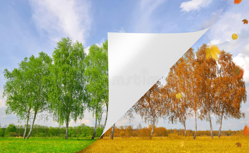 Season concepts. From Autumnal and Spring landscape stock images