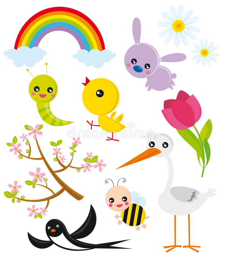 Season elements- spring. Illustration of natural elements of nature- spring