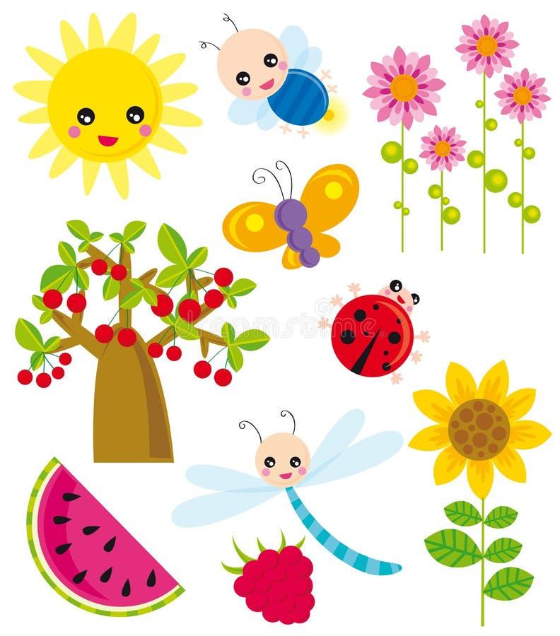 Season elements- summer stock illustration