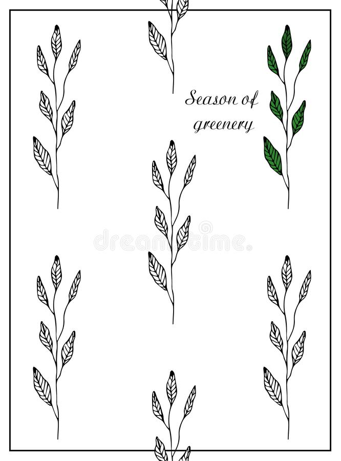 Season of greenery. Postcard with branches and leaves. Stylish and modern postcard. A pattern with black and white flowers royalty free stock image