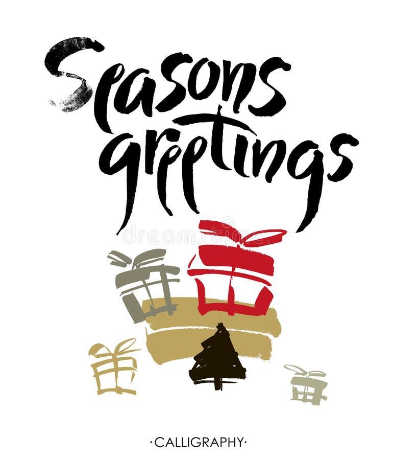 Season& x27; s问候 圣诞节书法 手写的现代刷子字法 向量 库存例证
