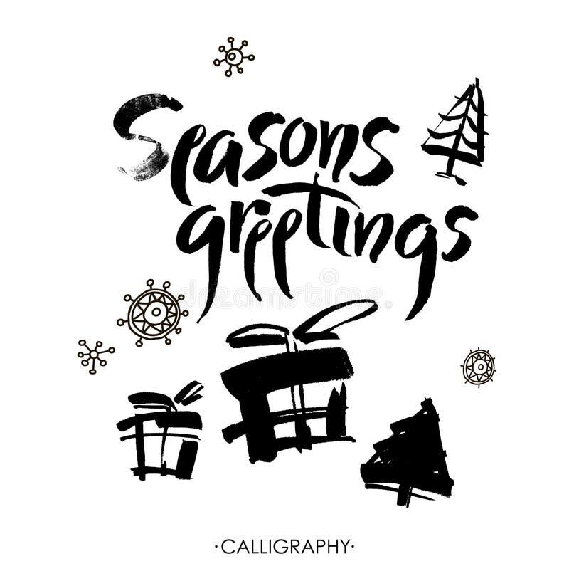 Season& x27; s问候 圣诞节书法 手写的现代刷子字法 向量 皇族释放例证