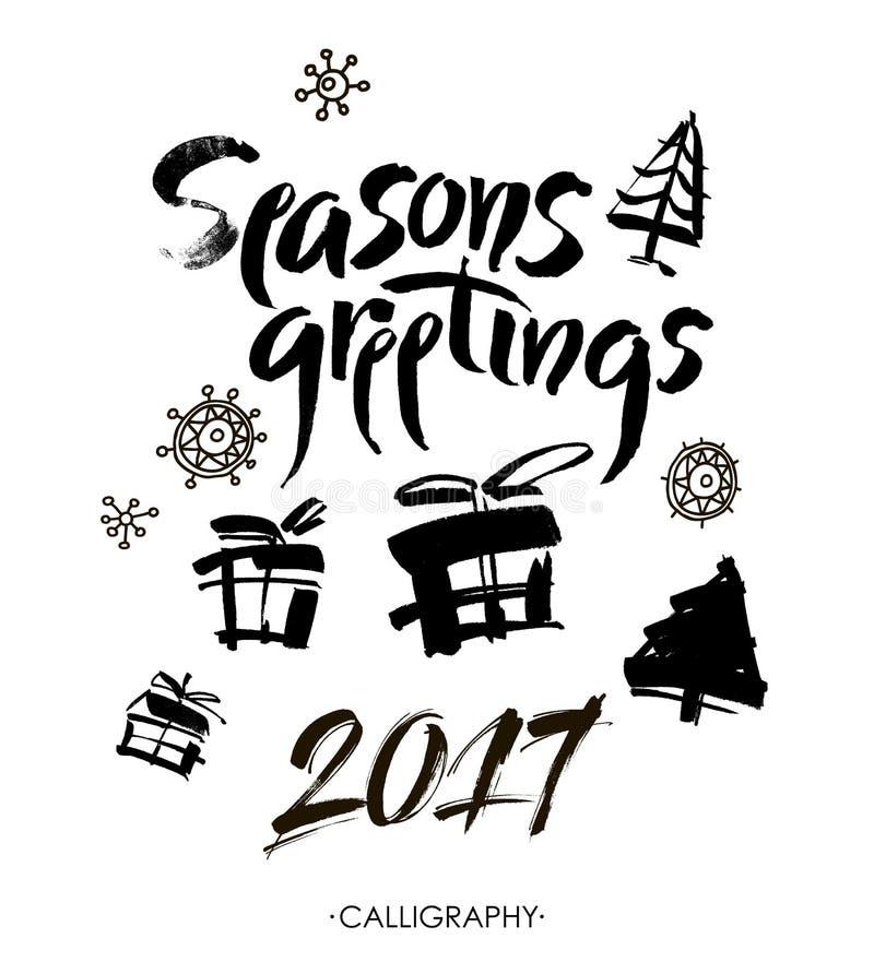 Season& x27; s问候 圣诞节书法 手写的现代刷子字法 向量 向量例证