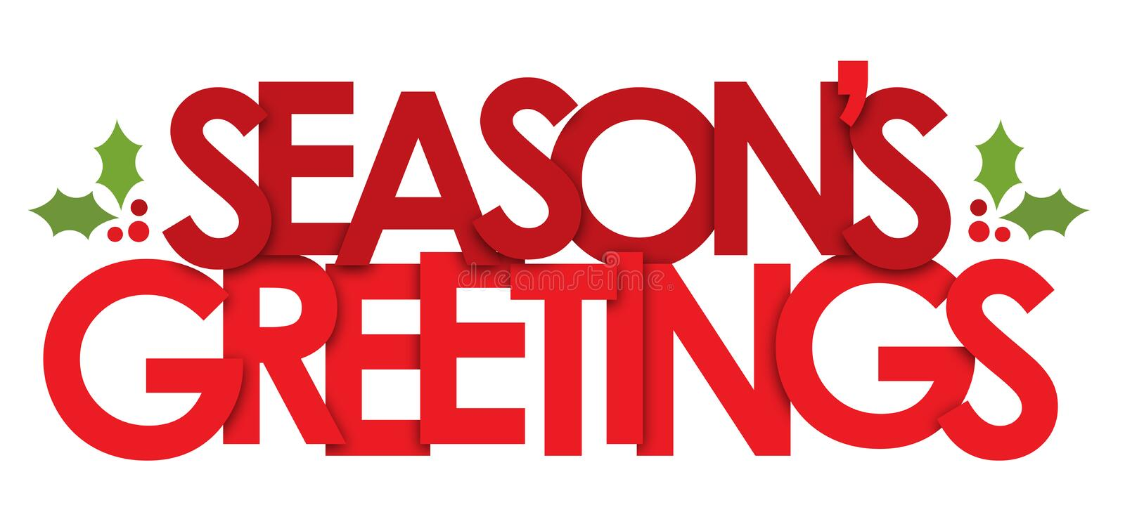 SEASON`S GREETINGS banner with holly motifs stock photos