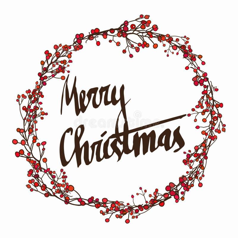 Season's Greetings card with calligraphy. Christmas floral frame. Christmas card. vector stock illustration