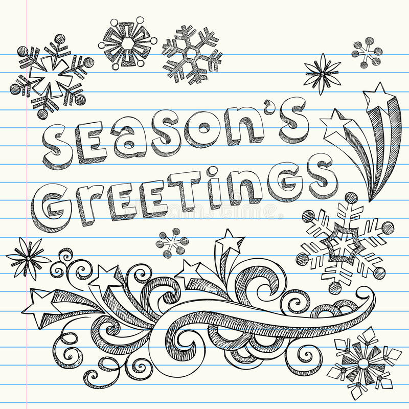 Season S Greetings Hand-Drawn Sketchy Doodles Stock Photography