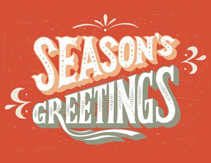 Season's Greetings hand-lettering royalty free illustration