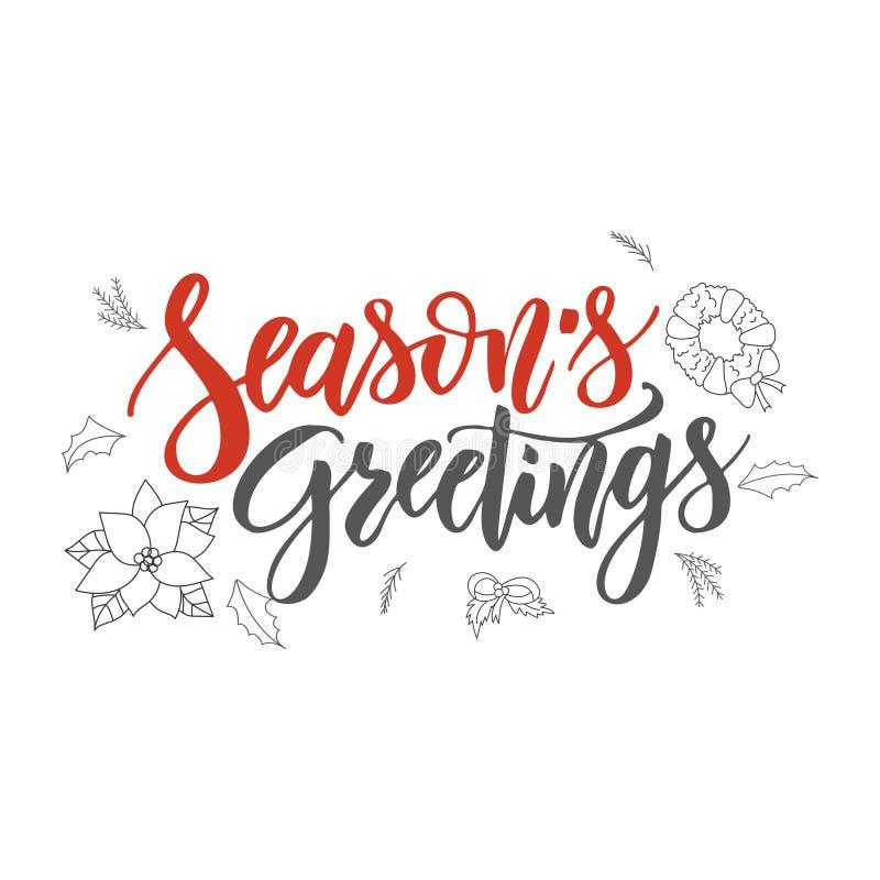 Season s Greetings handwriting script lettering. Marry Christmas greeting card. Modern brush lettering. Vector emblem stock illustration
