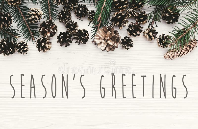 Season`s greetings text on modern christmas flat lay with green. Fir branches, golden pine cones and stars. Holiday greeting card. Merry Christmas and Happy new royalty free stock photos