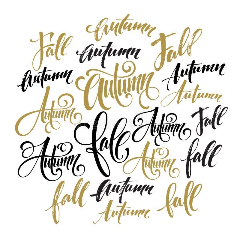 Season style lettering. Calligraphy graphic design element. Fall, Autumn set. Vector illustration vector illustration