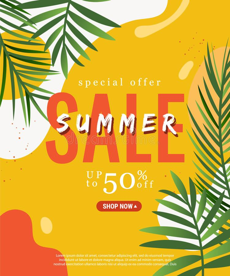 Free Season Summer Sale Theme Banner With Green Tropical Palm On Bright Shaped Backgrounds Stock Image - 218776891