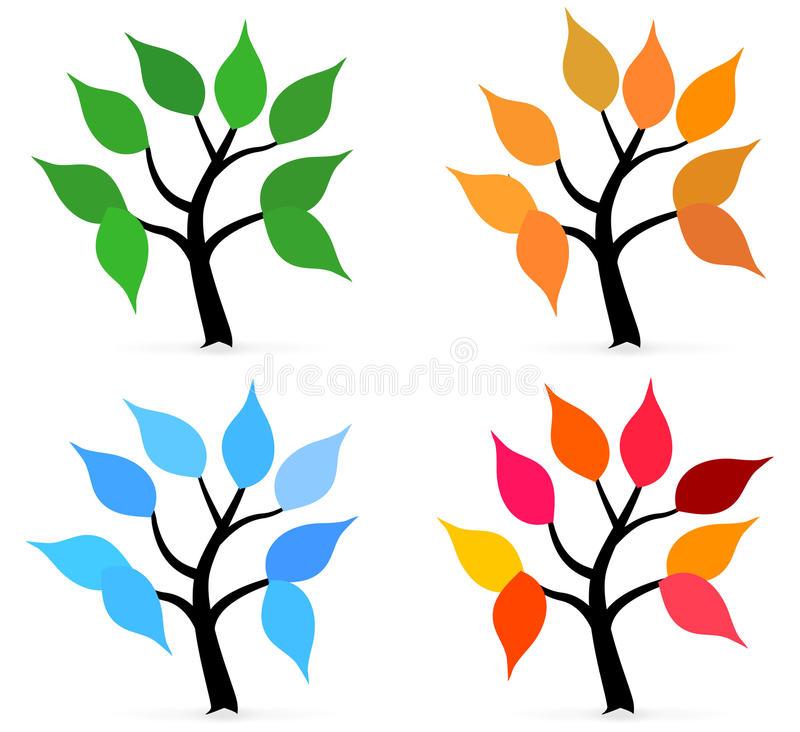 Season Tree With Leafs Royalty Free Stock Images