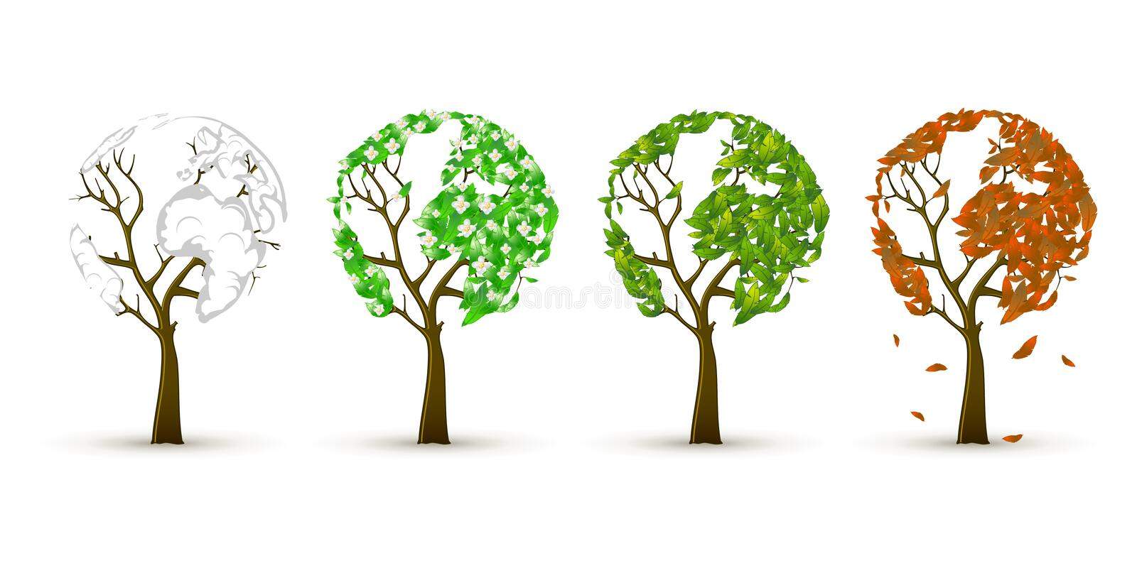 Download Season trees stock vector. Image of color, ecology, collection - 11716889