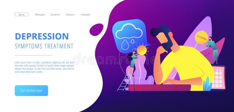 Seasonal affective disorder concept landing page. Businessman feeling bad with depressive symptoms, tiny people. Seasonal affective disorder, mood disorder stock illustration
