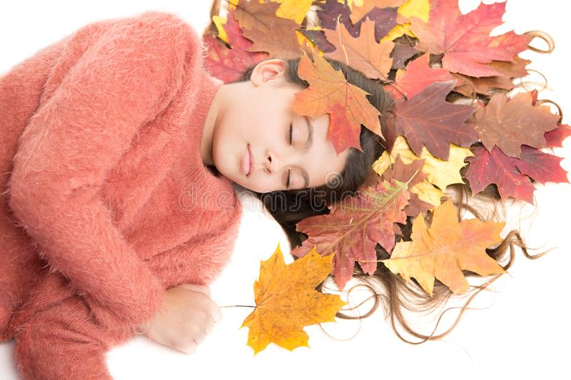 Seasonal affective disorder. Kid girl sleepy face suffer depression. Headache and prostration. Type of depression that stock images