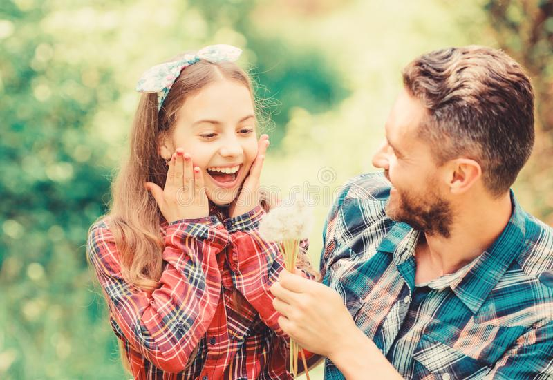 Seasonal allergies concept. Outgrow allergies. Happy family vacation. Father and little girl enjoy summertime. Dad and stock photography