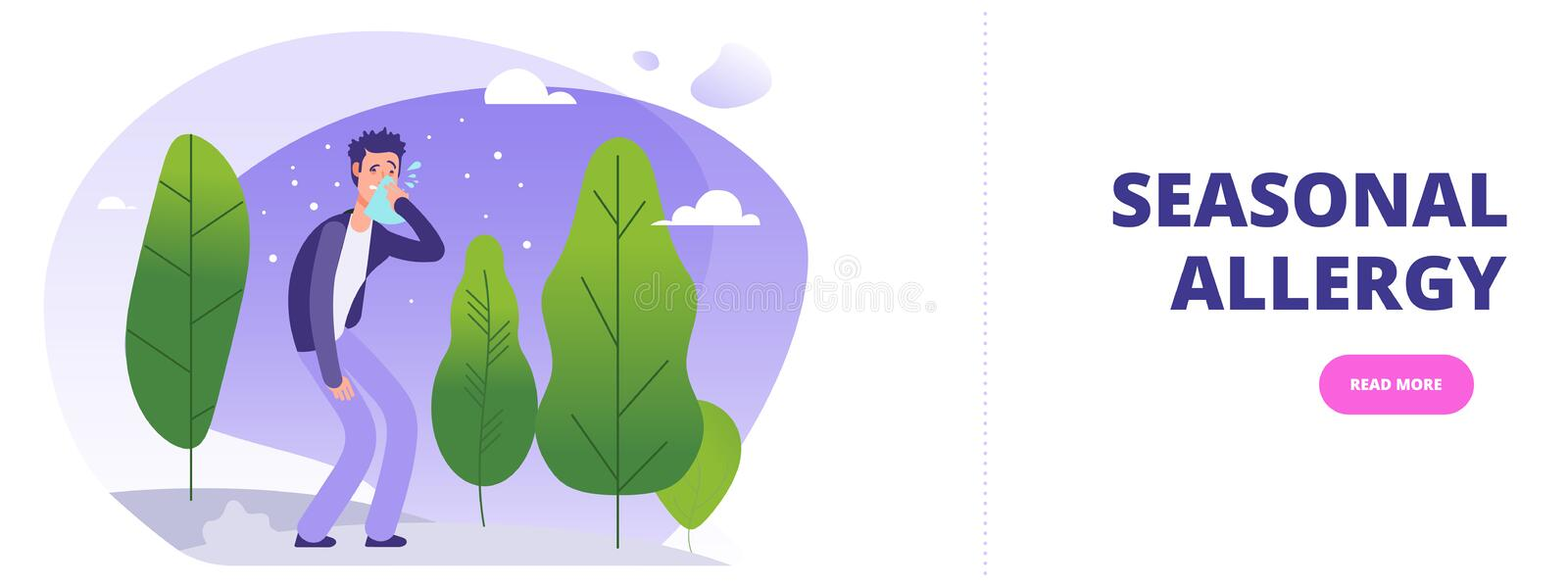 Seasonal allergy banner template. Man with season allergy simptoms in flowering forest vector illustration royalty free illustration
