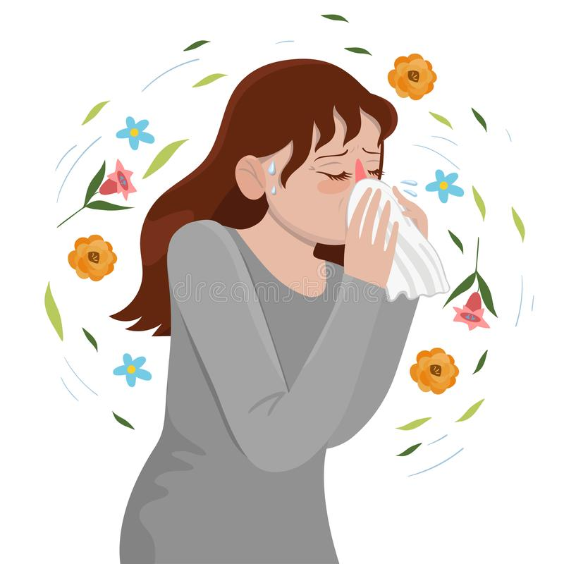 Seasonal Allergy Girl blows her nose in a handkerchief. Vector graphics stock illustration