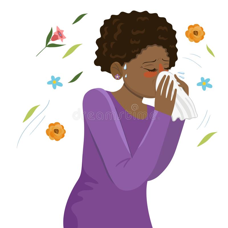 Seasonal Allergy Girl blows her nose in a handkerchief. Vector graphics. Seasonal Allergy Girl blows her nose in a handkerchief. Vector image stock illustration